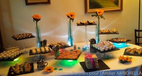 les tournesols et des spots en couleurs pour le buffet