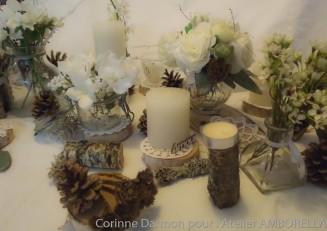 centre de table pour un mariage en hiver, nature et blanc